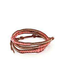 Salmon Coral Bead & Rose Gold Nugget Wrap Bracelet by Chan Luu on Gilt.com