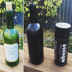 - bottle dipped with mibenco matt black -  Thanks @rileychervinski for this great picture. Why not spray your wine bottle #black #matt ? The possibilities are endless with #mibenco #liquidrubber! #decor #diy #project #rubberized #looksgood #crafts #creative #winebottle
