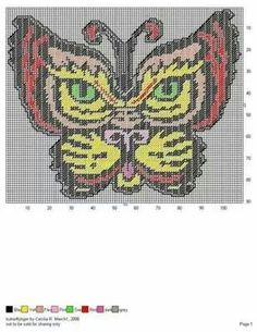Butterfly tiger wall hanging Plastic Canvas Ornaments, Plastic Canvas Crafts, Plastic Canvas Patterns, Butterfly Cross Stitch, Cross Stitch Bird, Cross Stitching, Needlepoint Stitches, Needlework, Loom Patterns