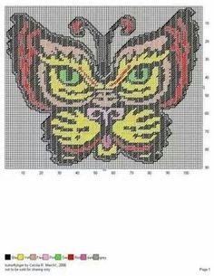 Butterfly tiger wall hanging Butterfly Cross Stitch, Cross Stitch Bird, Cross Stitch Charts, Cross Stitching, Cross Stitch Patterns, Plastic Canvas Ornaments, Plastic Canvas Crafts, Plastic Canvas Patterns, Alice In Wonderland Cross Stitch