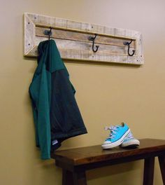 Entryway Mudroom Reclaimed Wall Mounted Coat Rack 3 Hooks