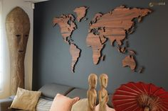 Palisander houten wereldkaart met landsgrenzen