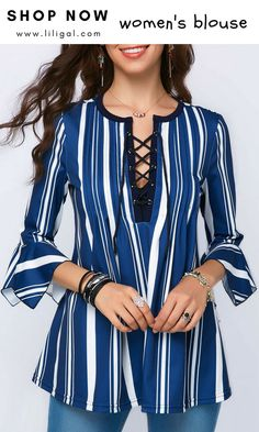 Navy Blue Striped Three Quarter Sleeve Blouse    #liligal #top #blouse #shirts #tshirt