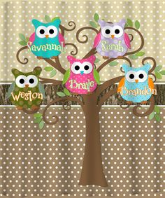Mod Tree Owl Shower Curtain - Personalized with your kid's names $78.00, via Etsy.
