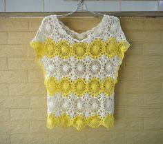 Short Sleeve Handmade Crochet Floral Women Lace Blouse White and Yellow