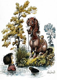 Thelwell, Norman Thrown Rider Wonders (Loudly) Why Funny Horses, Funny Animals, Horse Cartoon, Horse Cards, Horse Books, Horse Quotes, Horse Sayings, Majestic Animals, Comic
