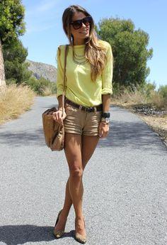 Leopard Heels and Yellow Top