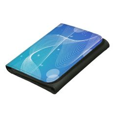 Abstract Blue Wavy Line Design Wallets