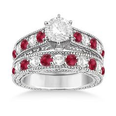 Allurez Antique Diamond & Ruby Bridal Wedding Ring Set 14k White Gold... ($3,585) ❤ liked on Polyvore featuring jewelry, rings, accessories, wedding, white gold wedding rings, round diamond ring, antique engagement rings, white gold diamond ring and ruby engagement rings