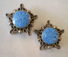 Vintage TAXCO Mexico TP-9 Sterling Silver Blue Denim Lapis Clip-on Earrings | eBay
