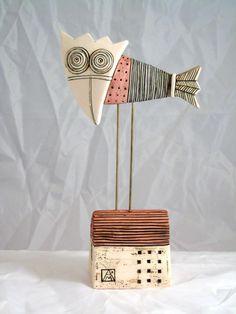 Bird on hill  Original ceramic sculpture Aleksandar