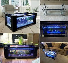 If you want to bring in something special in your home a fish tank coffee table may be just what you need. An aquarium coffee table allows you to save space by combining the coffee table with the fish tank.And one of the most beautiful and eye-catching. Fish Tank Coffee Table, Diy Coffee Table, Diy Table, Coffee Table Aquarium, Fish Tank Table, Fish Tank Decor, Craft Tables, Coffee Coffee, Diy Aquarium