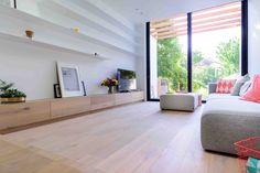 OH architecten Leuven - Nieuwbouw en renovatie Home Living Room, Living Room Designs, Big Doors, Snug Room, Narrow House, House Extensions, Next Door, Loft, Interior Inspiration
