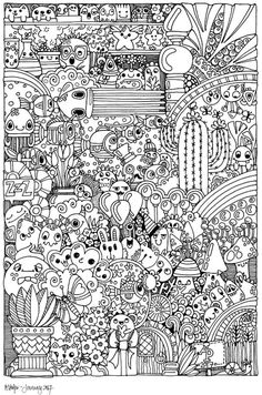 Small Adult Coloring Books - 28 Small Adult Coloring Books , Free Coloring Page From Adult Coloring Worldwide Art by Christine Vencato Free Adult Coloring Pages, Coloring Pages To Print, Coloring Book Pages, Coloring Sheets, Doodle Characters, Doodle Pages, Doodle Art Drawing, Doodle Coloring, Color Me Beautiful