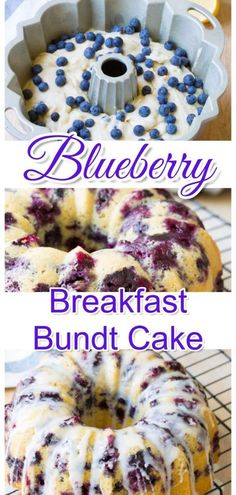 This easy blueberry breakfast bundt cake recipe tastes just like homemade blueberry muffins. Simple and easy breakfast idea for a crowd, Christmas morning or for brunch. recipes for a crowd brunch Breakfast Bundt Cake, Breakfast Dishes, Brunch Cake, Blueberry Breakfast Cakes, Blueberry Bundt Cake Recipes, Breakfast Dessert, Blueberry Muffin Cake, Blueberry Cookies, Brunch Menu