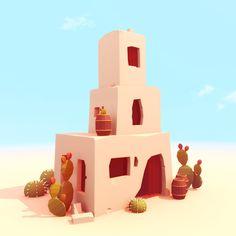 First set of models for in-dev indie game - Desert City Game Level Design, Game Design, Modelos Low Poly, Skull Illustration, Art Illustrations, Low Poly Games, Isometric Art, Environment Concept Art, Environment Design