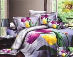 Fioletowe pościele 3D w tulipany