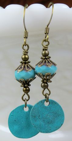 Unique Blue Patina Czech Glass Beaded Dangle Drop Earrings, Bohemian, Boho and Gypsy inspired jewelry.