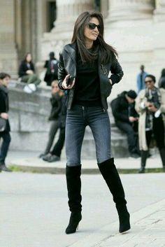 Resultado de imagen para botas negras largas combinadas con outfits