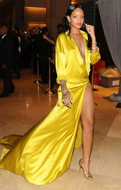 Rihanna's Most Skin-Baring Looks of All Time - in a yellow Alexandre Vauthier dress