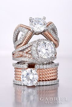 Triple Threat! 14k White Gold / Rose Gold Round Straight Engagement Ring