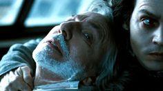 """2007 -- Between scenes of """"Sweeney Todd: the Demon Barber of Fleet Street"""" with Alan Rickman & Johnny Depp."""