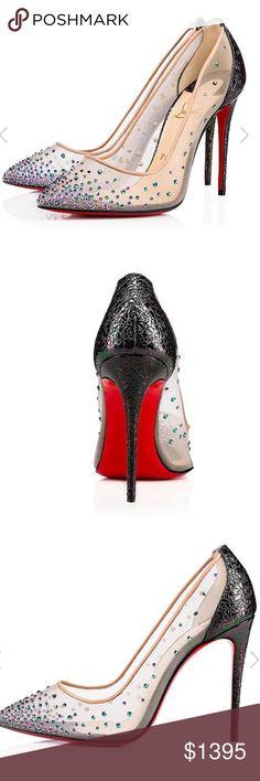 Christian Louboutin Follies Strass Rete BNWT. 100% authentic. Beautiful 100mm Scarabee Broken heels. The strass crystals are iridescent and match with the oil-spill effect from the heels themselves. Such an elegant and unique pair of Loubies. Able to ship after November 13th, since these were purchased abroad and currently at my boyfriend's house in France. I am visiting him in November will bring them back with me. Can also ship before, but would need to account for international shipping…