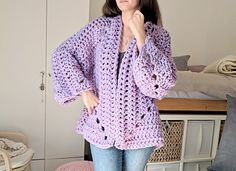 "If you've never crocheted a ""hexagon cardigan"" before, you are in for a treat. This might just be my new favorite way to crochet cardigans! Two hexagons, crocheted just like a 6 sided, solid, granny square form both the body and sleeves of this cardigan at the same time. Done in super bulky yarn for instant gratification and methodical sleeve decreases to make this chunky project an every day, wearable piece. A free pattern available on my blog!"