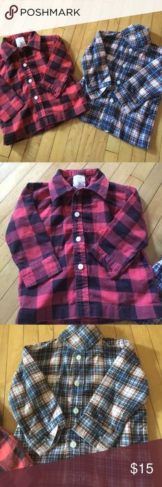 18 Months bundle of two button up tops 18 month size HappyKids brand 100% cotton button up tops. Left his black and red plaid button up all buttons intact. Right is HappyKids brand 18 month size flannel plaid. Super cute and perfect for the little gentleman  A101 Happy Kids Shirts & Tops