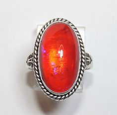 Navajo Sterling Silver Dragon's Breath Ring, Native American, Jane Popovich, Jelly Opal, Dragon Breath, Exclusively on Ruby Lane
