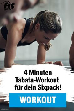 Tabata-Workout: Sixpack in nur 4 Minuten You want to be fit and lose a few pounds on the stomach? Then our Tabata workout for a flat stomach and a six pack is perfect for you! In 4 minutes you'll get your body up to speed! Fitness Workouts, Tabata Workouts, Insanity Workout, Hiit, At Home Workouts, Cardio, Tabata Training, Easy Fitness, Women's Fitness