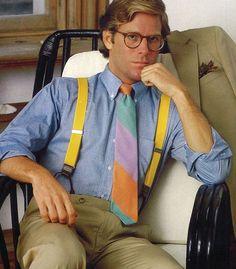 Paul Stuart Spring 1983 i love his suspenders and tie 1980s Punk Fashion, 80s Disco Fashion, 1980s Fashion Trends, 00s Fashion, Fashion History, Vintage Fashion, Fashion Photo, Fashion Women, Suspenders And Tie