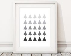 Geometric poster art, Nordic print design, Scandi wall print, Abstract giclee, Wilderness wall art, 'TREES' (frame not included)