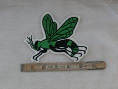 Green Hornet or Wasp Sew on Patch, Larger Embroidered Applique  Insect #Unknown