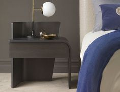 Wingy is a bedside table with a forthright contemporary design. The curved lines are underscored by the wengé-stained oak finish. Wingy also comes with a drawer for personal effects. Contemporary Side Tables, Modern Side Table, Luxury Interior Design, Interior Design Inspiration, Room Inspiration, Master Bedroom Interior, Bedroom Decor, Bedroom Ideas, Side Tables Bedroom