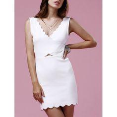 Sweet V-Neck Sleeveless Scalloped Hem Women's Bodycon Dress #shoes, #jewelry, #women, #men, #hats