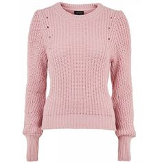 Topshop Stitchy Mutton Sleeve Jumper (594.350 IDR) ❤ liked on Polyvore featuring tops, sweaters, acrylic sweater, jumpers sweaters, pink sweater, topshop tops and jumper top