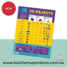 NEW: 3D Objects Chart A vibrant educational chart with key information on 3D Objects. This chart includes a definition of 3D objects and examples of common 3D objects such as cube, cone and sphere. Purchase this chart online now.