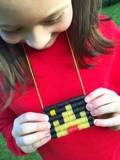 """How to make a Painted Macaroni """"Pixel Doll"""" Necklace... DIY Jewelry for kids"""