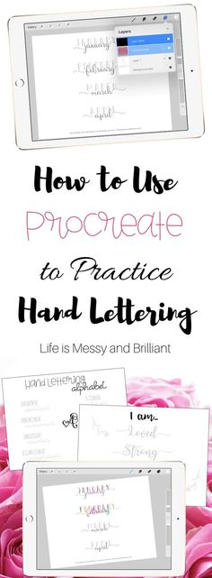 How to use Procreate, hand lettering practice, hand lettering printables, hand lettering practice sheets, hand Hand Lettering For Beginners, Calligraphy For Beginners, Hand Lettering Alphabet, Brush Lettering, How To Hand Lettering, Chalk Lettering, Lettering Ideas, Lettering Styles, Lettering Tutorial
