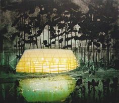 Katherine Jones -A House In The Woods | 2007 | Collagraph on paper | 50 x 58cm  More art: www.kirstenlovesart.com