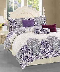 Look at this #zulilyfind! Purple & White Morella Seven-Piece Comforter Set #zulilyfinds