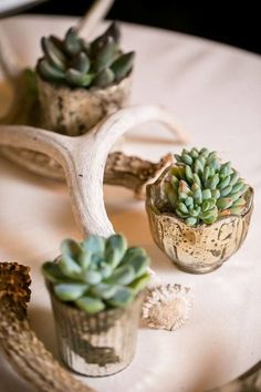 Having a boho or vintage wedding, but still want gold accents? Mercury glass votives are classic and versatile enough to fit into nearly any theme or palette.