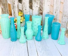 Teal and Mint SHABBY CHIC Painted Glass Vases for Weddings, Set of 10 on Etsy, $89.00