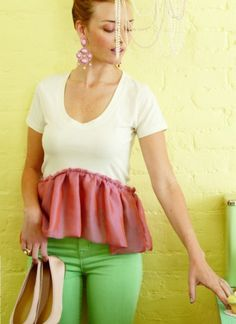 Turn a plain t-shirt into a cute and ruffled peplum bottom -- a super easy upcycle.