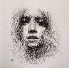 Self-Taught Artist Makes Amazing Female Portraits Based On Doodles Scribble Drawing, Biro Art, Surreal Art, Cool Art Drawings, Line Art Drawings, Scribble Drawings, Scribble Art, Drawing Sketches, Art