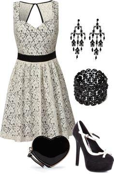 """Black and White Dress"" by jenn-308 on Polyvore"
