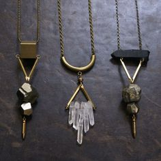 Pyrite, brass, quartz necklaces : $35 - While Odin Sleeps | STORE