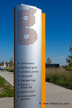 Wayfinding signage at the Orange County Great Park in Irvine, California.