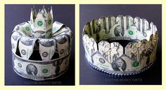 Money Crowns for Bride and Groom Bride's crown made with 18 $2 bills Groom's crown made with 25 $2 bills Available upon request with any denomination of dollars.